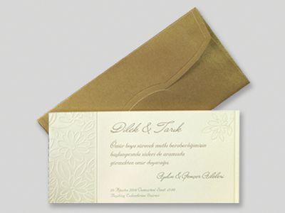 Sarı kabartmalı davetiye