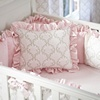 Pink and Taupe Damask Crib Bedding | Girl Crib Bedding in Light Pink and Brown Damask | Carousel Designs