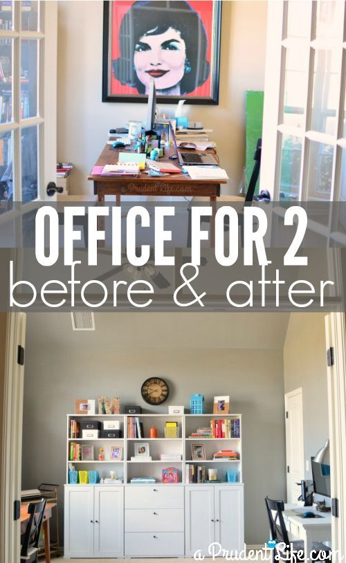 Shared home office layout before and after