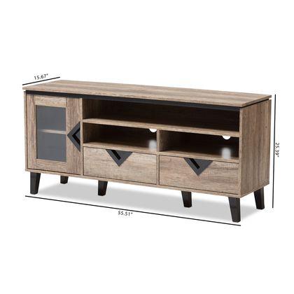 Baxton Studio Cardiff Light Brown Wood 55-Inch TV Stand