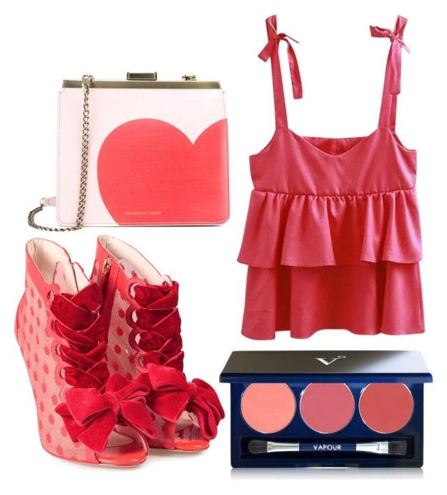 """50 shades of red"" by penkreitto on Polyvore featuring Sophia Webster, Vapour Organic Beauty and Tammy & Benjamin"