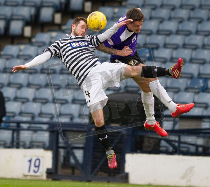 Queen's Park's Vinnie Berry wins the header during the SPFL League Two game between Queen's Park and East Fife.