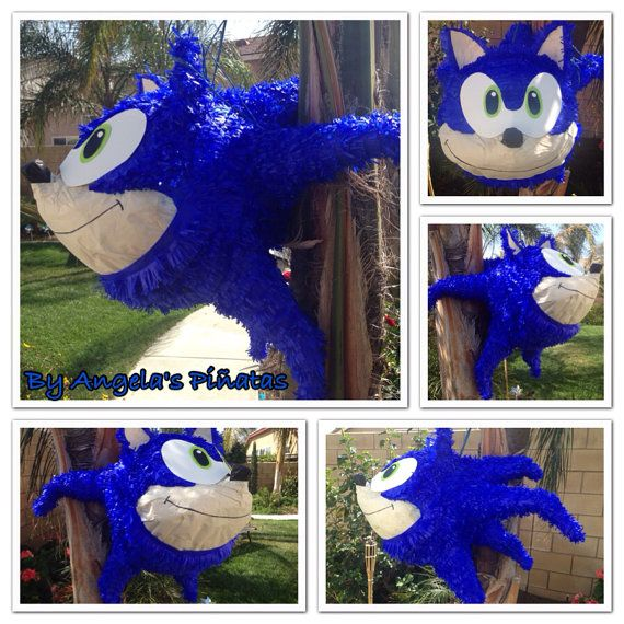 Sonic the hedgehog custom hand made Sonic piñata Sonic the Hedgehog Birthday Party by angela's pinata's on Etsy. Www Facebook.com/angelaspinatas