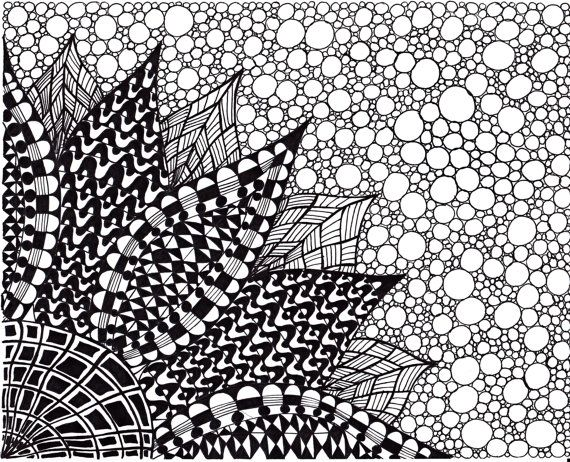 Zentangle Inspired Flower Art print, Ink Drawing Zendoodle Flower, Printable Art, Black
