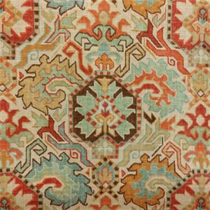This is a beautiful orange, blue, brown and gold floral southwestern drapery fabric. This fabric is perfect for any home decorating project.v134PAEF