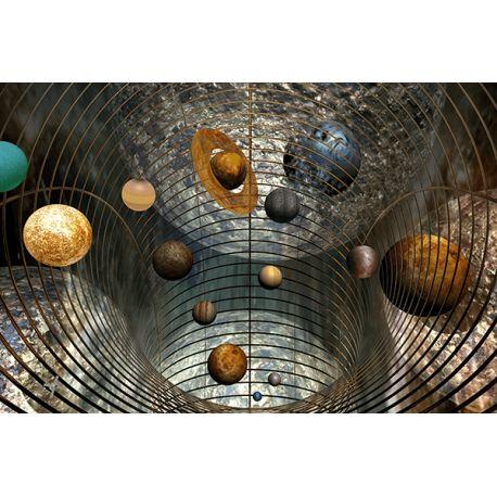 Obraz na płótnie - Abstrakcyjne planety - dostępny w rozmiarze 150x100, 120x80, 90x60, 60x40 i 40x26 cm #fedkolor #abstrakcja #obraz #kosmos #planety #wszechświat #universe #planeta #na #płótnie #wydruk #ozdoba #dekoracje #nowoczesne #wnętrza