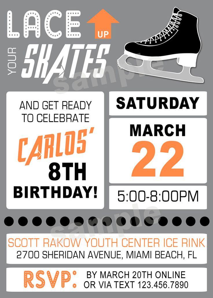 Boy Ice Skating Printable Birthday Party Invitation -  DIY Digital, Printable Party INVITATION - 4x6 or 5x7 by modpoddesigns on Etsy
