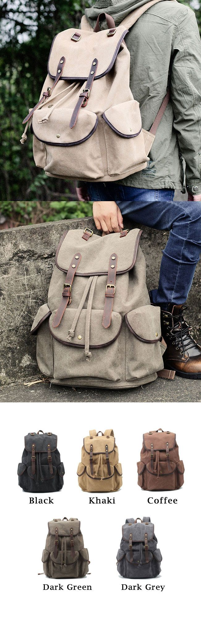 Find Retro Leather Strap Rucksack Thick Canvas Large Travel College Backpack? Go…