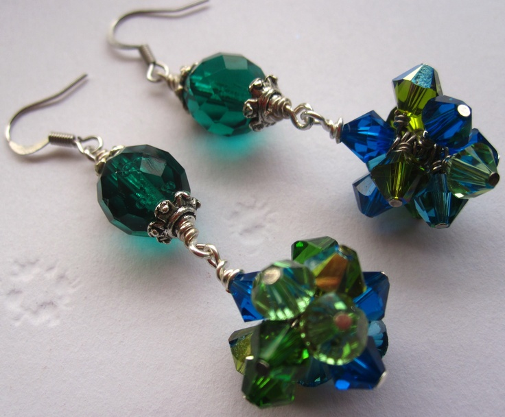 Green and Blue Swarovski/Czech Bunches