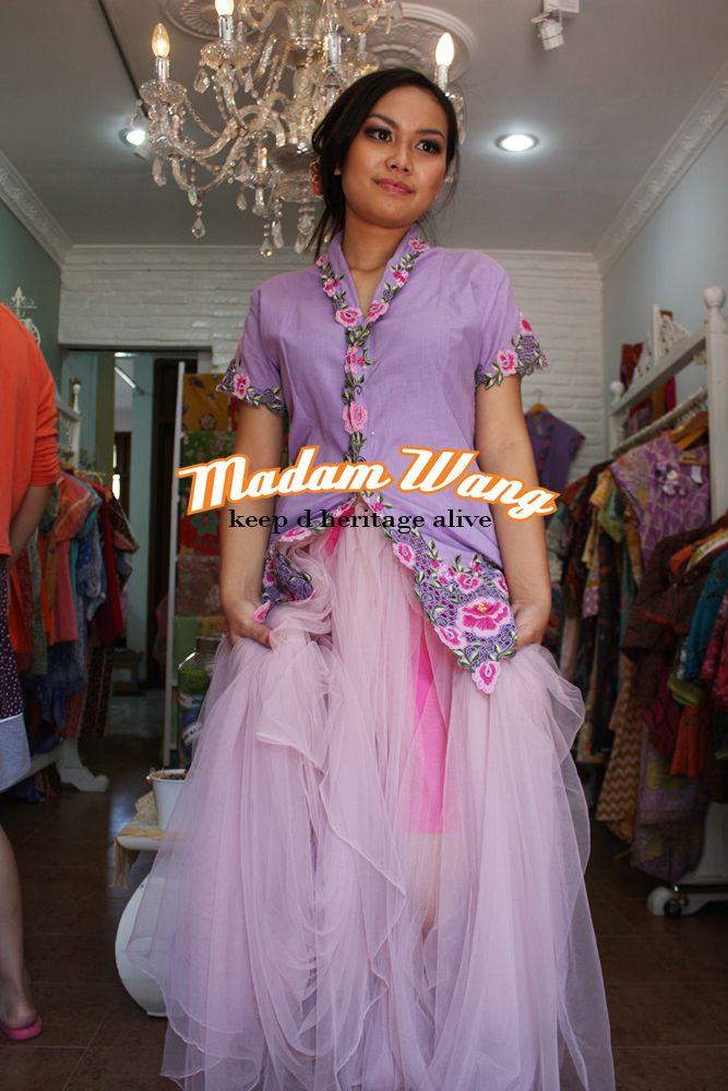 purple kebaya encim, pink tulle skirt, party attire
