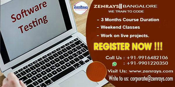 ZenRays offers the best Software Testing Training in Bangalore. We provide 100% placement assistance. Learn with Hands-On Training. Work on Live Project Write to corporate@zenrays.com Call: +919916482106 | WhatsApp: 9901220350