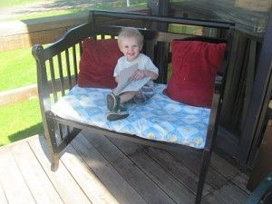 Crib upcycling (especially great use for all those recalled cribs): Old Cribs, Decor Ideas, Cribs Upcycled, Outdoor Benches, Cribs Makeovers, Clever Ideas, Cribs Benches, Benches Makeovers, Baby Cribs