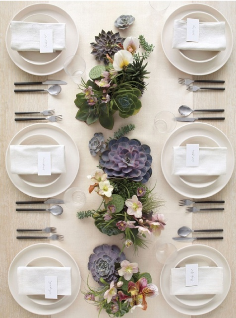 Summer Tabletops To Love!!! Bebe'!!! Love the use of the colorful orchids and succulents with the white place setting!!!