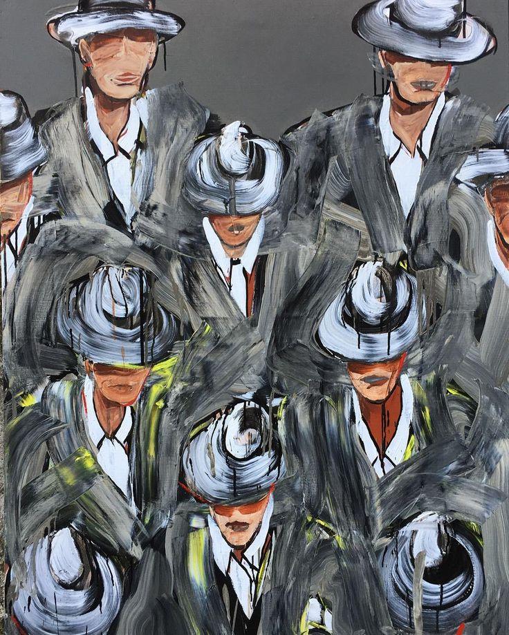 """""""Foule"""" peinture sur toile. Un de mes thème... #peintureacrylique #peinturesurtoile #artwork #personnage #hommeauchapeau #foule #elegance #tourbillon #peinture #peintredelamarine #peintreofficieldelamarine #nicolasvial #vial by nicolas_vial_"""