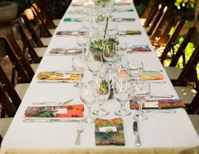 Simple terrarium and eclectic napkins