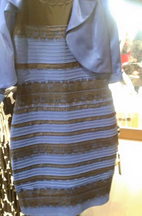 WHAT COLOR IS THIS DRESS?  Real answer: Depends on how your brain corrects for the white balance of the image, resulting in either Blue/Black or White/Gold.