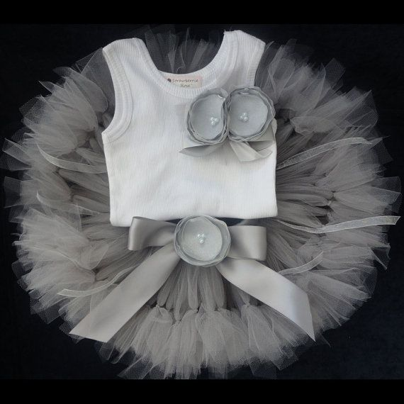 Baby Girls Birthday Tutu Dress Outfit, Little Silver Toddler Tutu Dress
