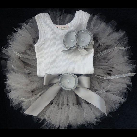 Little Silver Toddler Tutu Dress Set by StrawberrieRose on Etsy, $79.95