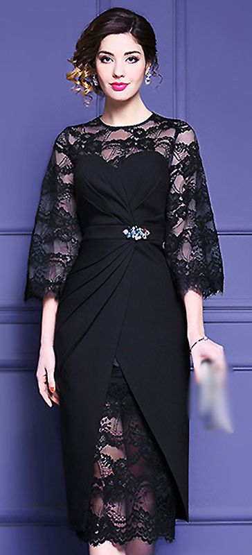 Party Sexy Pure Color Lace Hollow Out Beaded Flare Sleeve Bodycon Dress