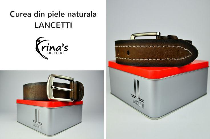 Alege accesorii de calitate, la preturi avantajoase!  Cureaua Lancetti maro, din piele naturala, ambalata in cutie de metal, poate fi un cadou extraordinar, pentru barbati! #irinasboutique #curea #lancetti #barbati #cadou
