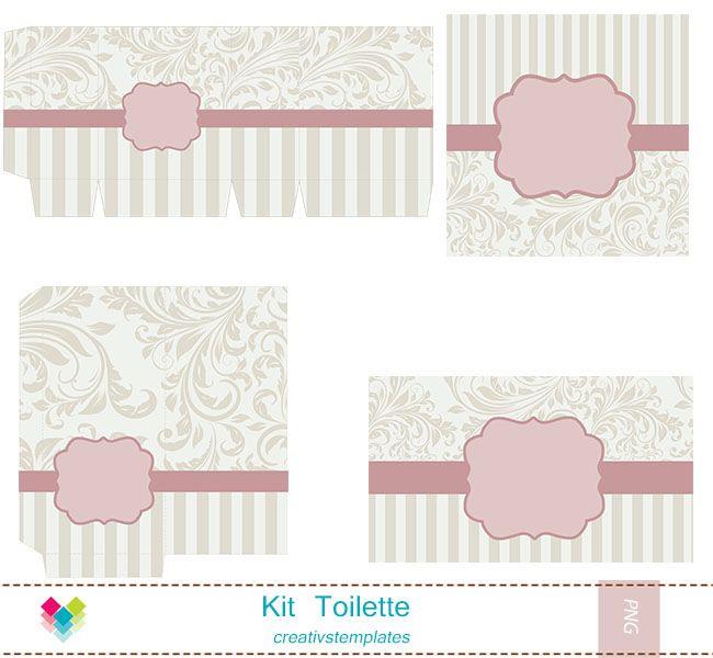 Kit Toilette Rosa e bege floral mod:849 - **Kit Toalete   Creativstemplates