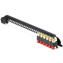 Mesa Tactical Remington 870 12 Gauge 20 Saddle Mount SureShell 6 Shell Carrier with Mag Clamp and Rails Aluminum Black