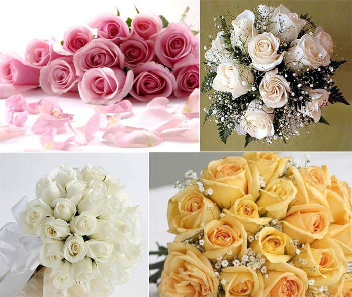 Розы в красивом свадебном букете