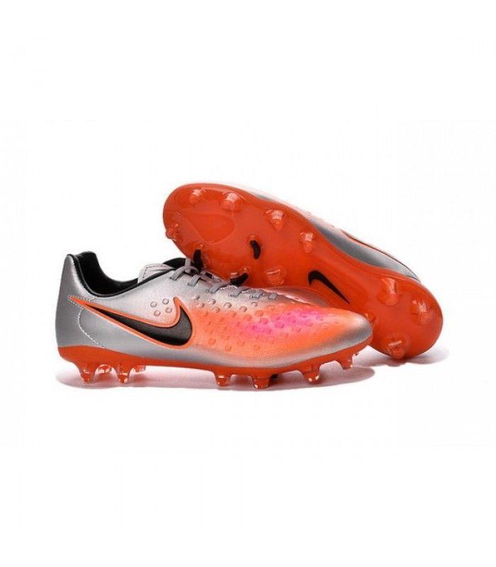 Acheter 2016 Nike - Crampons Nike Magista Opus II FG Argent Orange Noir pas cher en ligne 89,00€ sur http://cramponsdefootdiscount.com