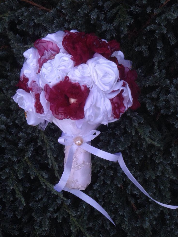 Wedding bouquet from satin and organza.
