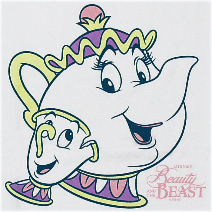 ポット夫人&チップ Tシャツ☆。美女と野獣 半袖Tシャツ ポット夫人とチップ ホワイト レディース メンズ Disney Beauty and the Beast ディズニー キャラクター ウェア トップス 【RCP】