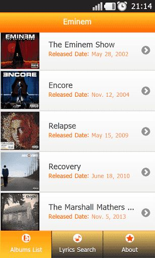 Are you a EMINEM fan? this app is right for you.<br>Install for FREE this app with all the song's lyrics of your favorite band! <p> List of albums: <p>•\tInfinite<br>•\tThe Slim Shady LP<br>•\tThe Marshall Mathers LP<br>•\tThe Eminem Show<br>•\tEncore<br>•\tRelapse<br>•\tRecovery<br>•\tThe Marshall Mathers LP 2<p>All the lyrics of all of their albums are in this application for your android device. <br>Just open this app and choose the lyrics that you want.<br> <br>No need To Access The…