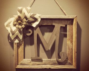 This listing is for a beautiful, unique, and one of a kind Rustic Initial Frame Burlap Wreath!! This is one of our most popular items in our shop!