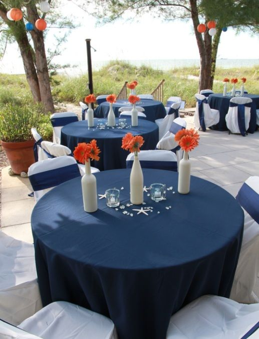 Navy + Orange beach wedding