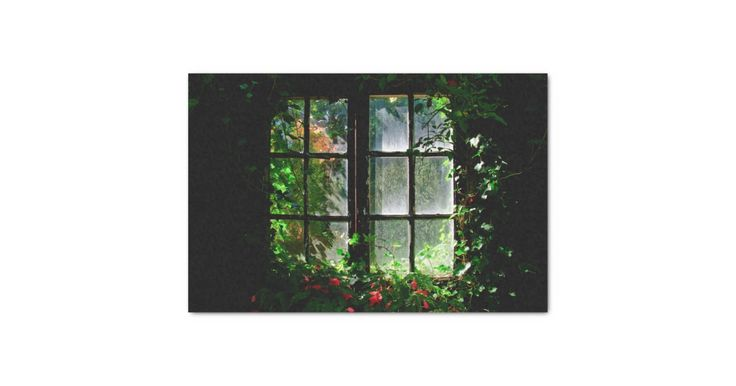A cottage garden window with flowers and plants tissue paper | Zazzle