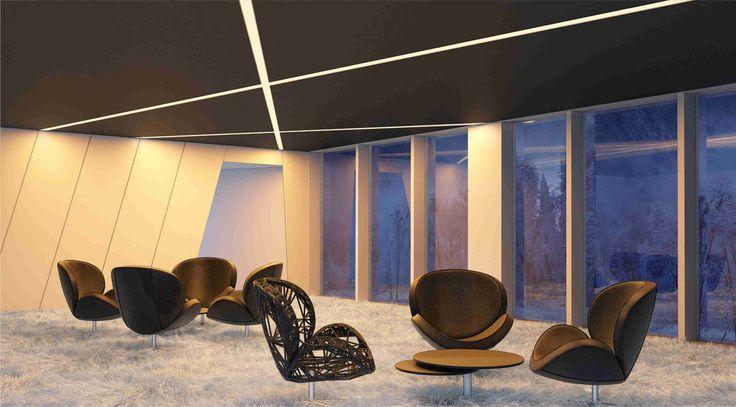 Iluminación de sala con perfiles empotrados y tira de LEDs.