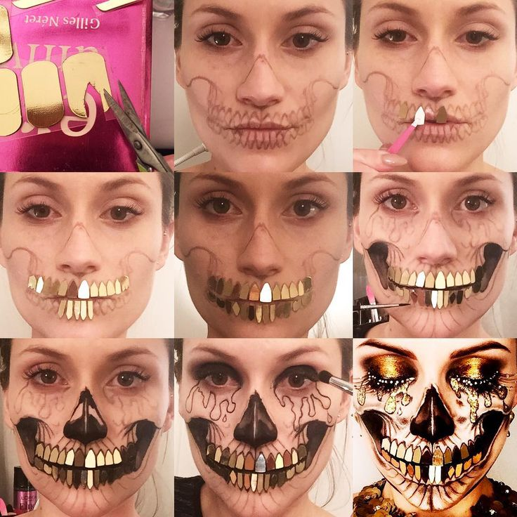 """""""Pictorial Tutorial: Opulent Skull✨ The teeth were quite fiddly, I wanted a gold disco ball effect. I cut out L'Oreal nail foils in the shape of a tooth…"""""""
