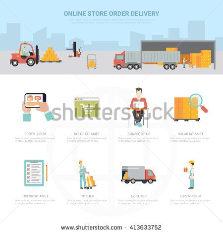 Online store order delivery infographics shipping transportation e-commerce business info graphic. Flat style web site app icon set concept vector illustration. Creative trendy collection. - stock vector