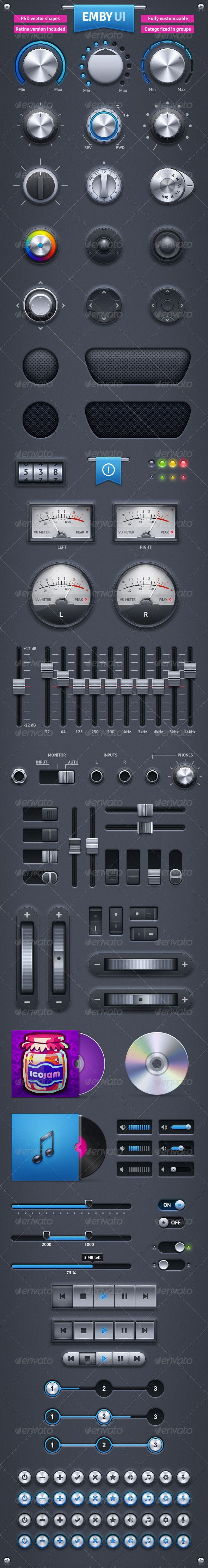 Emby UI #GraphicRiver EMBY UI contains knobs, counter, volume meters, speakers, light bulbs, color selector, gamepads, ribbon, scroll wheels, equalizer, switches, tumblers, audio inputs, cd, vinyl, sound bars, steps meter, buttons, sliders, progress bars, player controls, range selector. - Vector shapes layered - 2 PSD files (normal and retina) - Each element layered and categorized in groups Created: 3May13 GraphicsFilesIncluded: PhotoshopPSD HighResolution: Yes Layered: Yes...