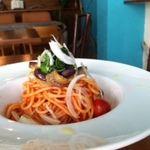 イダキ カフェ - 料理写真:なす、オクラ、モロヘイヤのトマト冷製パスタ☆