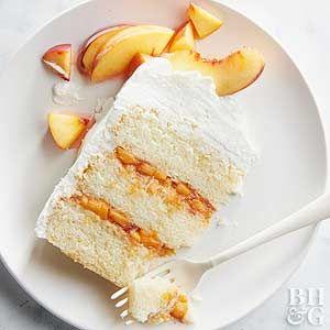 Peaches & Cream Prosecco Cake  A dense sponge cake is ideal to soak up plenty of the Prosecco's boozy goodness.