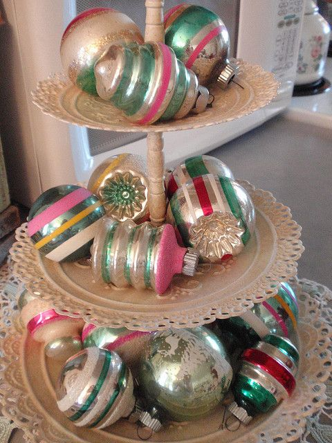 Vintage green & pink shiny brite ornaments- I still have a few of these!