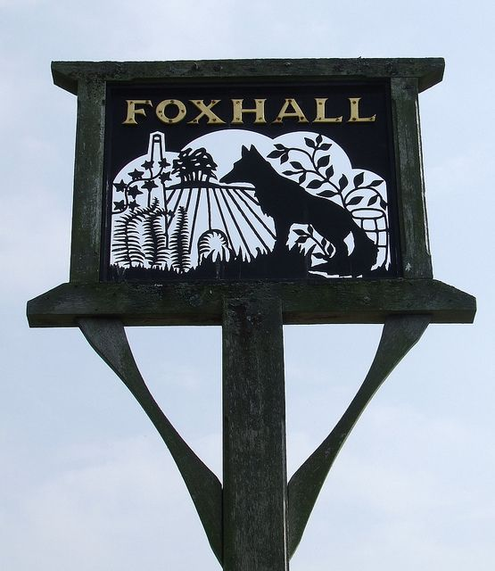 Village Sign of Foxhall, in Suffolk, England.