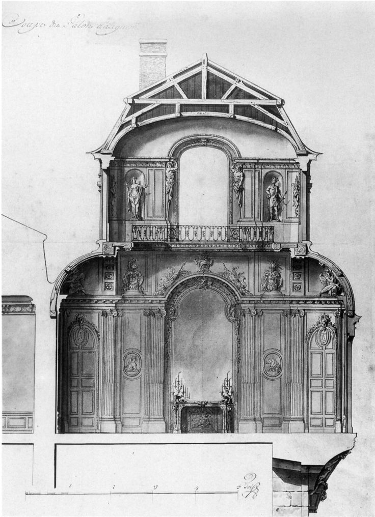 Section drawing of the salon d angle at the palais royal paris architecture pinterest - Salon de the palais royal ...