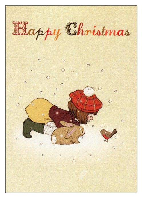 Belle and Boo and the Robin  Christmas Card