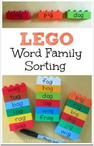 LEGO Word Family Sorting Activity