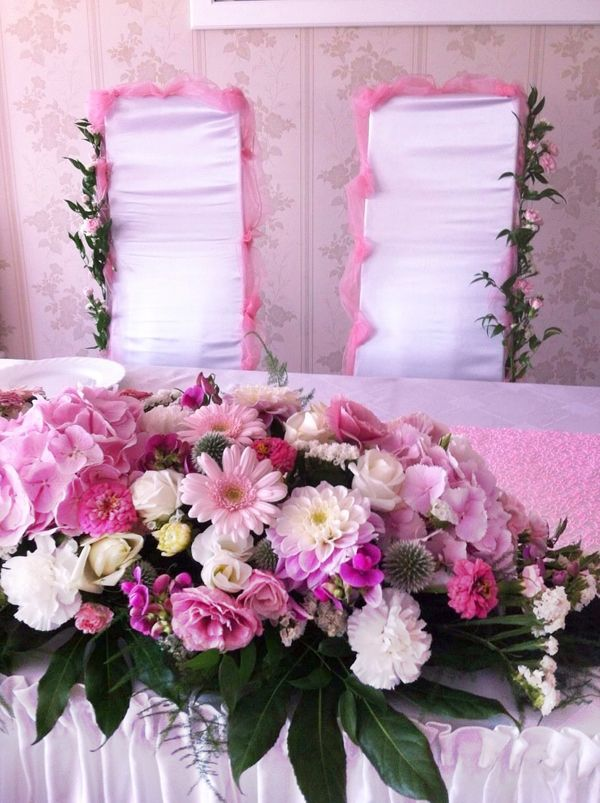 pink and white flower arrangement #centerpiece #pinkcenterpiece #pinkflowers #pinkwedding #sweetdecorations