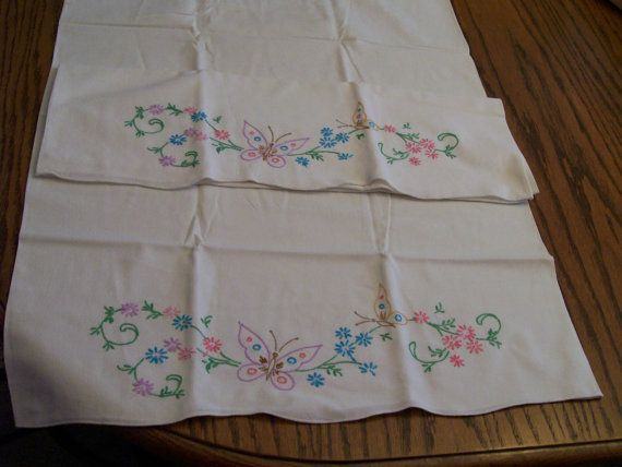 Vintage Embroidered Pillowcases Butterflies Flowers