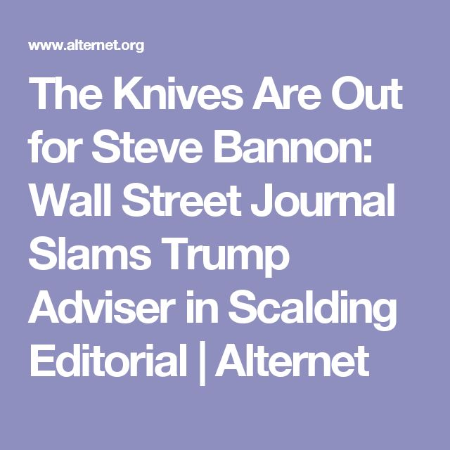 The Knives Are Out for Steve Bannon: Wall Street Journal Slams Trump Adviser in Scalding Editorial | Alternet