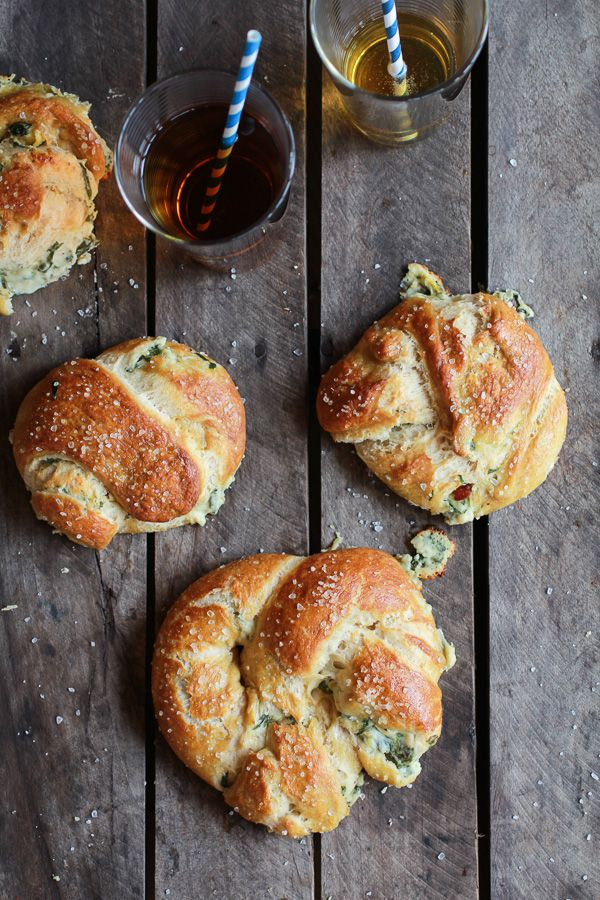 Soft Pretzels stuffed with Spinach + Artichoke + Bacon -- easy to make finger food that's sure to impress guests! | halfbakedharvest.com