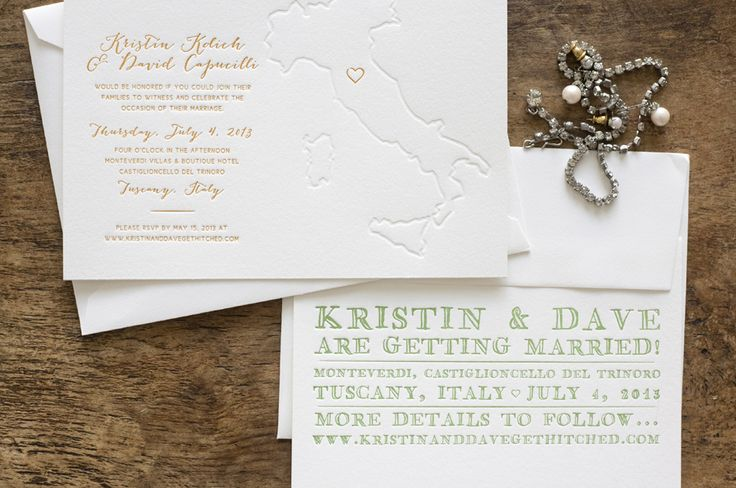 custom letterpress Tuscan wedding invitations by Bears Eat Berries